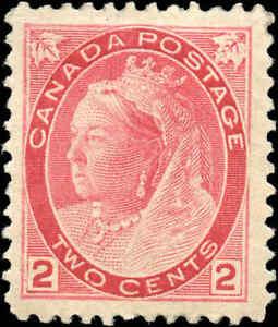 1899-Mint-H-Canada-F-VF-Scott-77-2c-Queen-Victoria-Numeral-Issue-Stamp