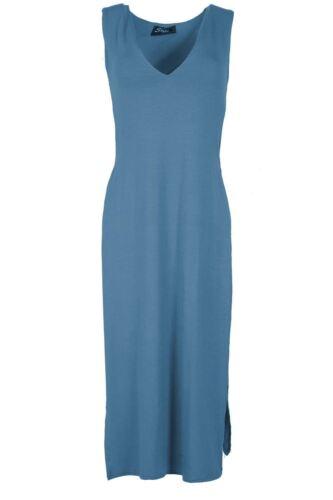 Damen Midi Kleid Doppel Seite Schlitz V Ausschnitt Hülle Hüfte hoch Teilung TOP