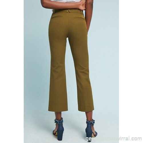 NWT Anthropologie The Essential Cropped Flares Pants Size 0