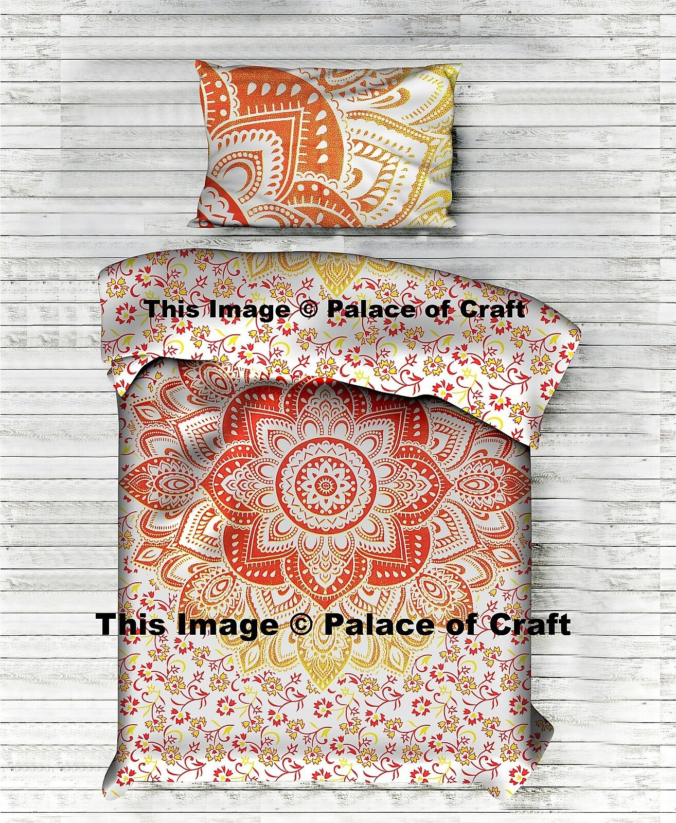 Ombre Mandala Hippie Doona Cover Indian Traditional Quilt Comforter Cover Pillow