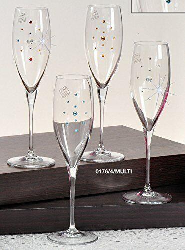 Le Monde Cadeaux, Swarovski Jeweled CRISTAL flutes champagne sur une courte tige