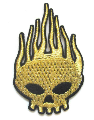 Flaming Skull Iron On Patch Fire Demon Skeleton Embroidered Applique Badge