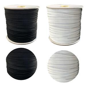 Flach-Elastisch-7mm-Breit-Gummiseil-Seil-Stoss-Saiten-Dehnbar-Kordel-Schwarz-Weiss