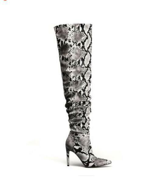 2019 Womens European Oxford Knee High Boots Leopard Sz36-41 Pointy Toe shoes