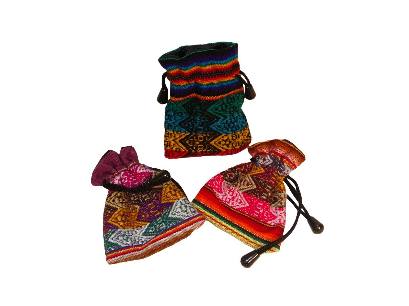 Six Bag with Drawstring /& Cord 5 X 3 Peruvian Woven Fabric Gift Pouch 6