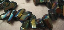 Rock Crystal Blue Metallic Finish Tip Drilled Beads 34pcs