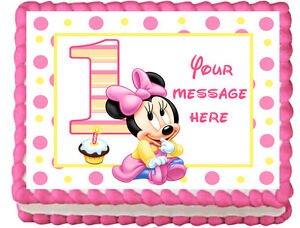 BABY MINNIE MOUSE Image Edible Cake topper Decoration eBay