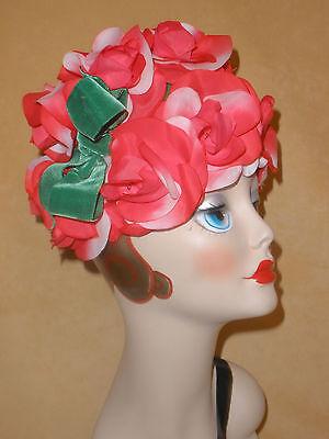 1960's Red & White Rose Floral Hat w/ Green Velvet Bow - Hengerer's Buffalo NY