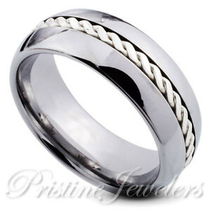 Tungsten Carbide Ring Sterling Silver Braid Inlay Men Jewelry