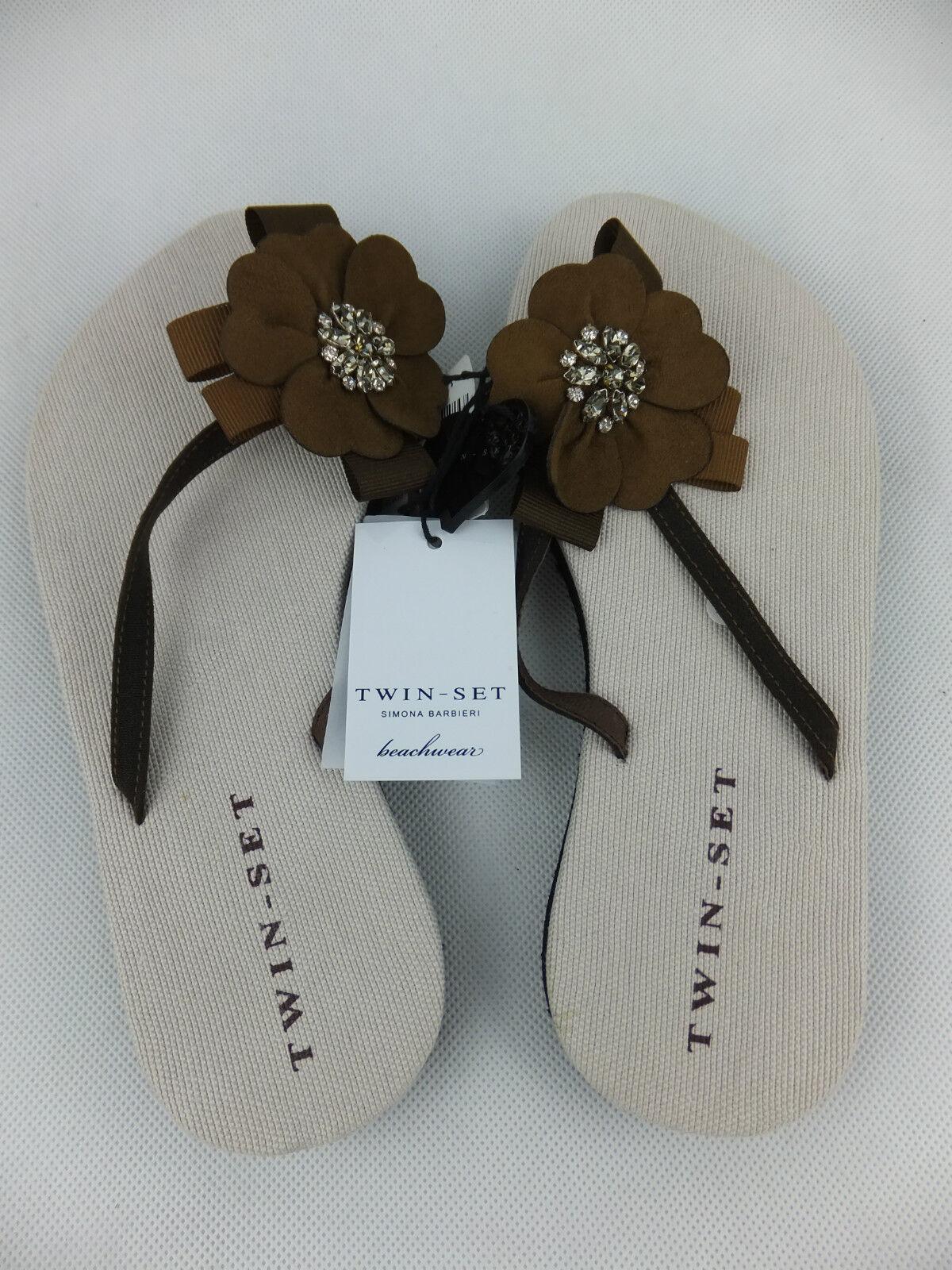 TWIN-SET SIMONA marrone BARBIERI dita dei piedi STEG Sandali 40 marrone SIMONA nuovo con etichetta 62a0a0