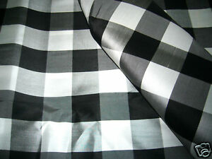 Image Is Loading BLACK WHITE GINGHAM CHECK 100 SILK FABRIC For