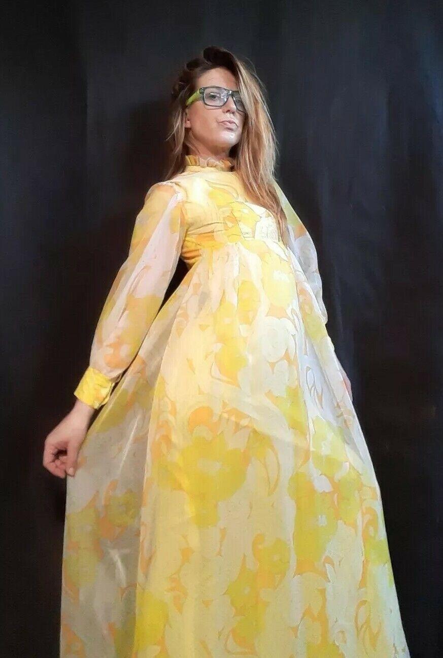 Rare 1960's Retro Yellow Chiffon Floral Gown by Nadine (XXS/XS)