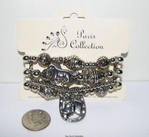 Western-Cowgirl-Horse-Horseshoe-Rhinestone-Boot-Silver-Beaded-Bracelet