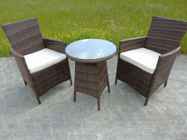 NEW BISTRO 2-4-6 SEATER RATTAN WICKER DINING OUTDOOR GARDEN FURNITURE SET