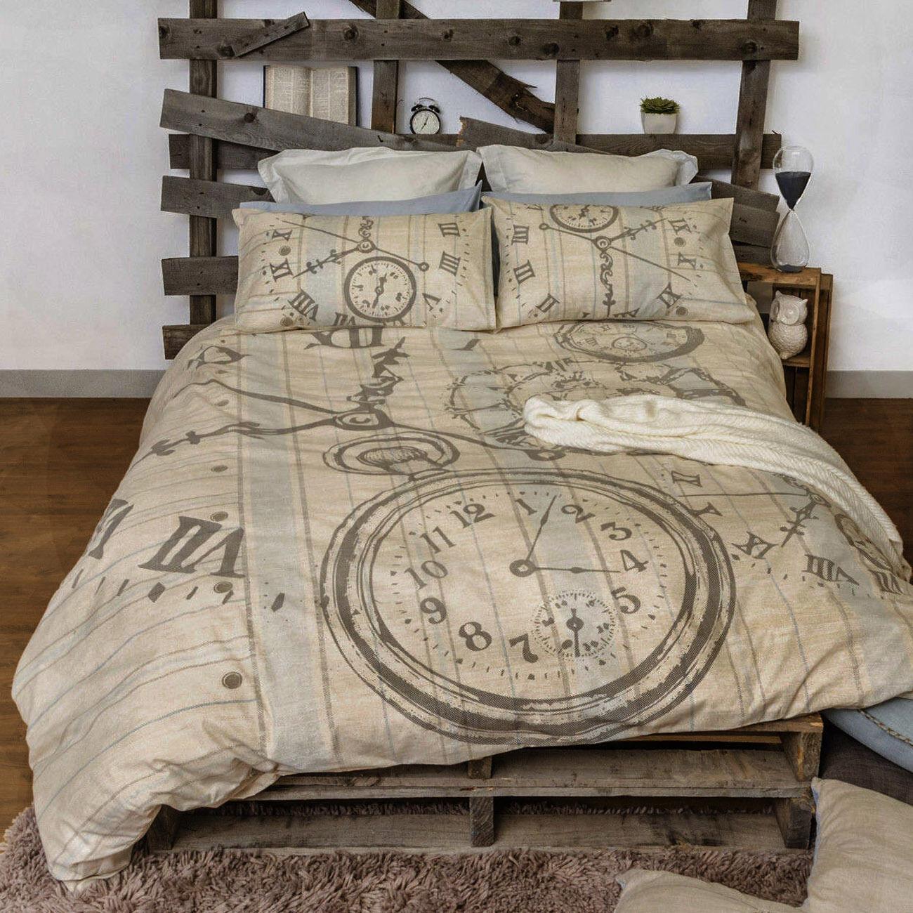 Bedtime Neutral Duvet   Doona Quilt Cover Set   Retro Home   Nostalgic & Gentle