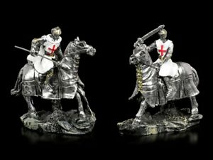 White-Crusader-Figures-For-Horse-2er-Set-Fantasy-Knight-Medieval-Statue