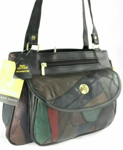 New Womens Real Leather Handbag Multi Pocket Shoulder Fashion Bag Purse Multi UK