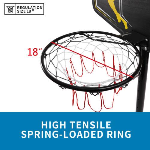 10FT Height Adjustable Portable Basketball Hoop System 44 Inch Backboard w//Wheel