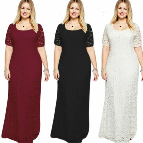 UK Women Lace Long Ball Gown Wedding Prom Long Sleeve Maxi Dress