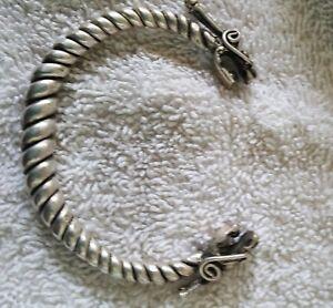 Silver Viking Wolf Head Bracelet - Norse//Medieval//Pewter//Jewelry//Torc//Skyrim