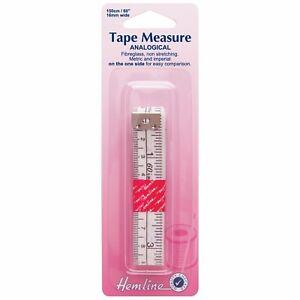 HEMLINE-150CM-60-034-FIBRE-GLASS-TAPE-MEASURE-ANALOGICAL-METRIC-IMPERIAL-BNEW