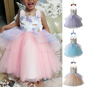 7d19406063e03 Kids Baby Girls Flower Party Unicorn Tutu Tulle Dress Wedding ...