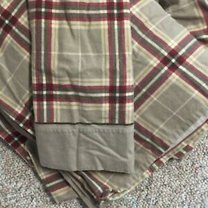 PLAID-FLANNELQUEEN-Sheets-BEIGE-RED-BROWN-Flat-amp-Fitted-1-Pillow-CASE