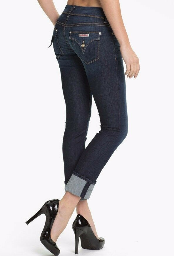 NWT HUDSON Sz27 GINNY MIDRISE STRAIGHT ANKLE WITH CUFF JEANS blueE STELLA  189