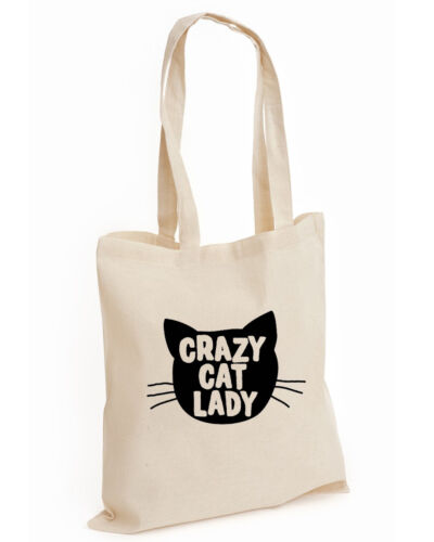 Crazy Cat Lady FASHION COTTON TOTE TUMBLR SWAG FUNNY CAT LOVER KITTEN CAT, BAG