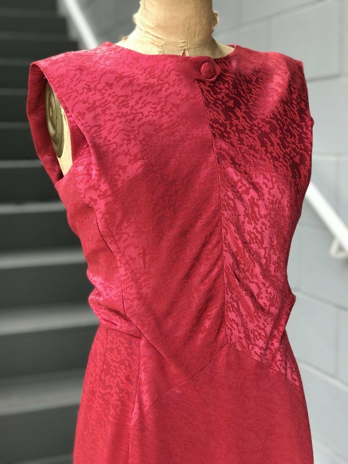 1950s Rasberry Jacquard Formal Dress + Belt - image 4