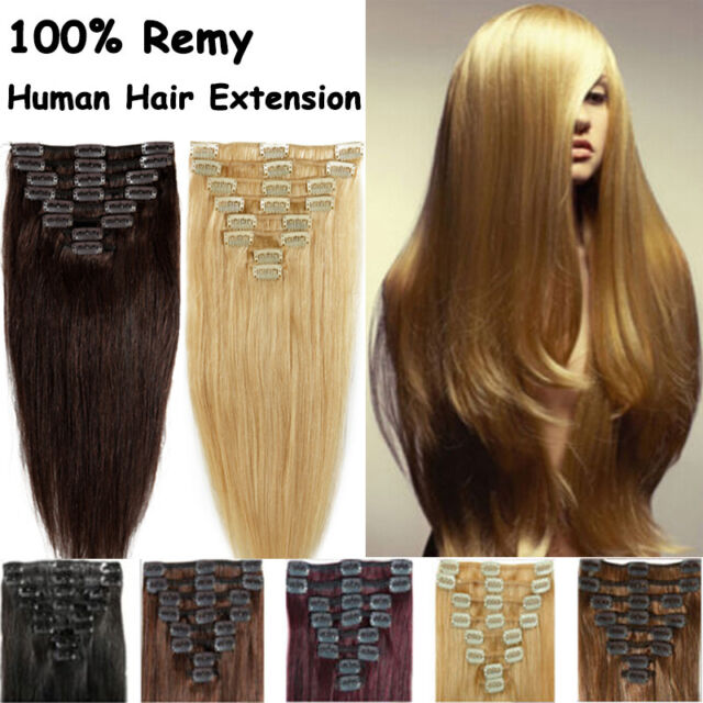 Natural Real Clip in Remy Human Hair Extensions Black Brown Blonde Full Head AU