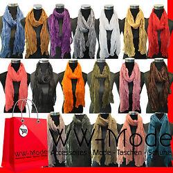 NEU XL Edel leicht Crinkle Halstuch Schal Tuch Knitter Scrunch Optik Uni Farben