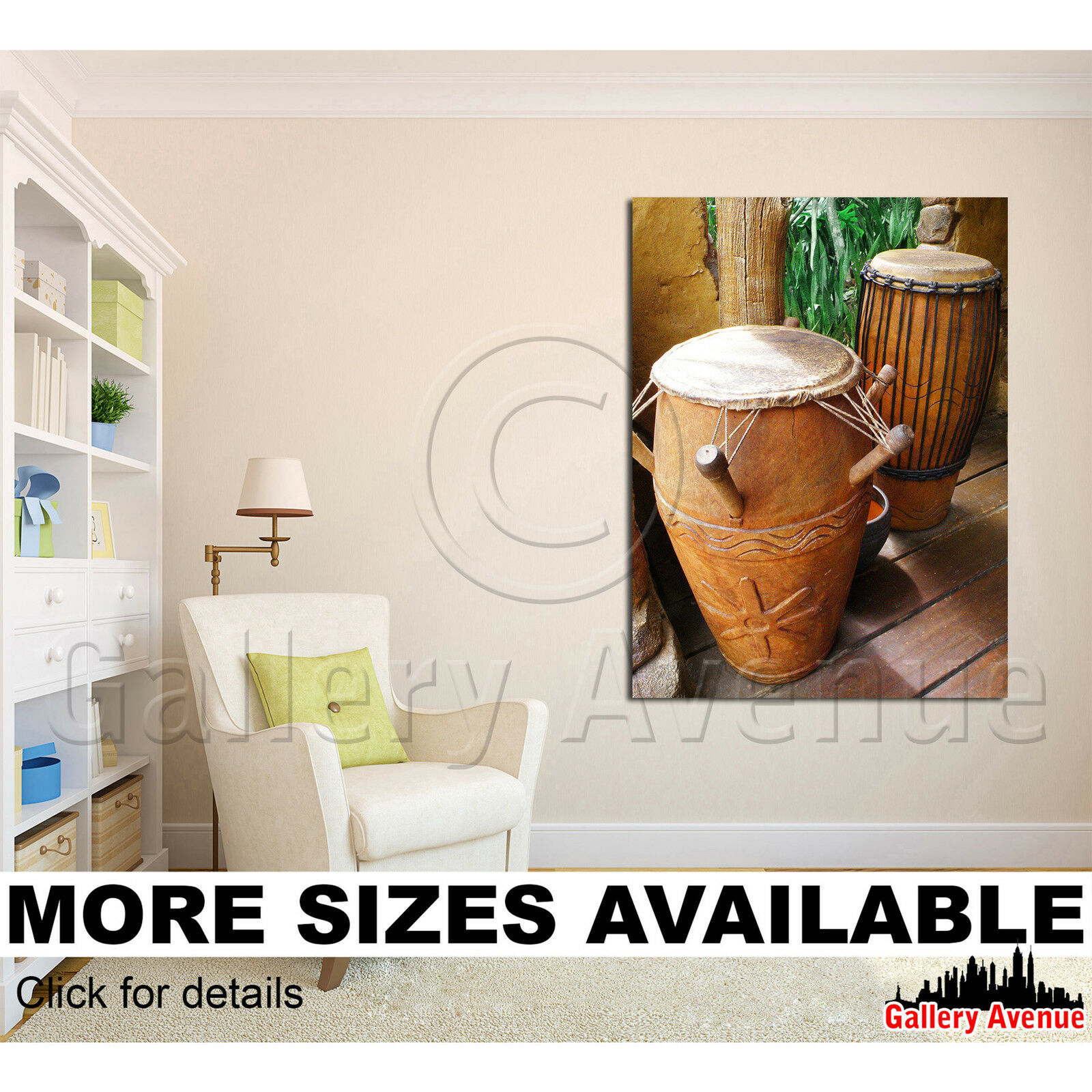 Wall Art Canvas Picture Print - African Tribal Drums 3.4