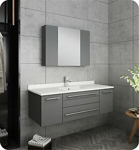 "Fresca Lucera 48"" Gray Wall Hung Undermount Sink Modern ..."