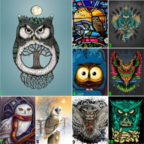 Lonely Owl Full Drill DIY 5D Diamond Painting Cross Stitch Kits Decor Mosaic Art