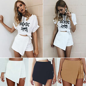 Women-Ladies-Skorts-Shorts-Mini-Hot-Skirt-Pants-High-Waisted-Flanging-Bottoms