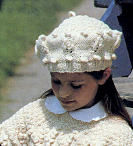 "P0491a Girls//Ladies Aran Jumper and Hat 4 sizes 24/""/""-34/"" Knitting Pattern"