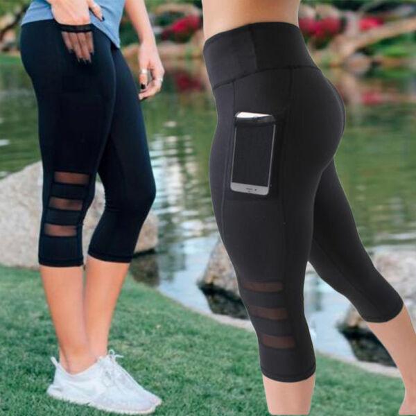 dfb9256a499b8 Hover to zoom · Women s High Waist Yoga Pants Pocket Fitness Sports Capri  Leggings Plus Size OB