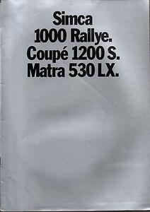 RARE-brochure-catalogue-depliant-SIMCA-1000-RALLY-1200S-MATRA-530-LX