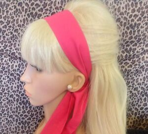 PLAIN-BRIGHT-PINK-COTTON-FABRIC-HEAD-SCARF-HAIR-BAND-SELF-TIE-BOW-50s-60s-STYLE