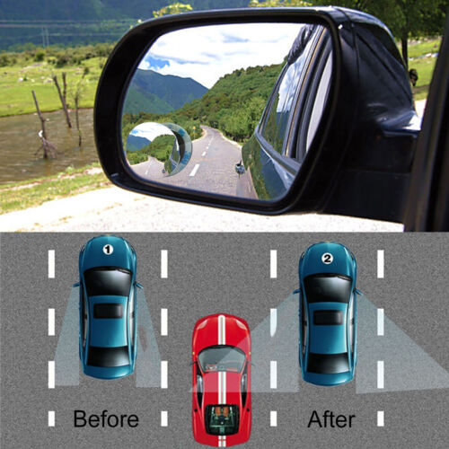 2PCS Wide Angle Convex Car Blind Spot Round Stick-On Side View Rearview Mirror