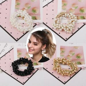 Women-Elastic-Scrunchie-Ponytail-Holder-Pearl-Rope-Hair-Band-Ties-Accessories-RO