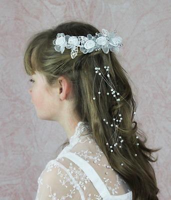 Bändergesteck Haarschmuck Kopfschmuck Haargesteck Blumen Kommunion Blumenmädchen