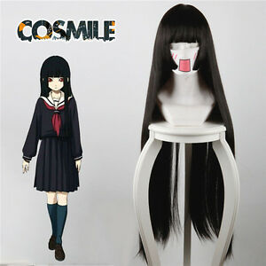 Enma Ai Jigoku Shoujo Yoi No Togi Cosplay Black Hair Wig Cap New