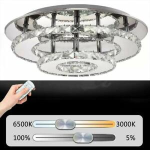 Details About Led Crystal Ceiling Light 36w Bright Dimmable Remote Control Dining Living Room