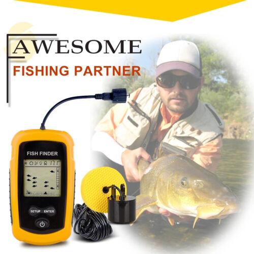100m Portable Sonar Sensor Fish Finder Water Depth Alarm Transducer Echo Sounder