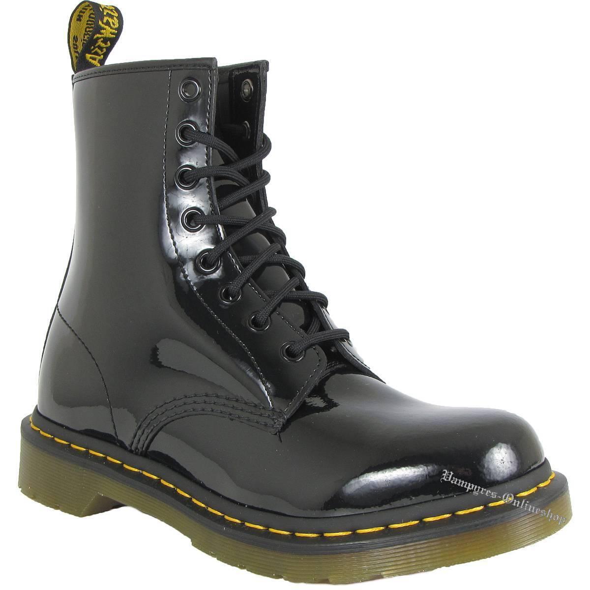 Dr. Martens 8-Loch 1460W Patent Lamper 11821011 Lack Schwarz Docs Boots Doc Noir