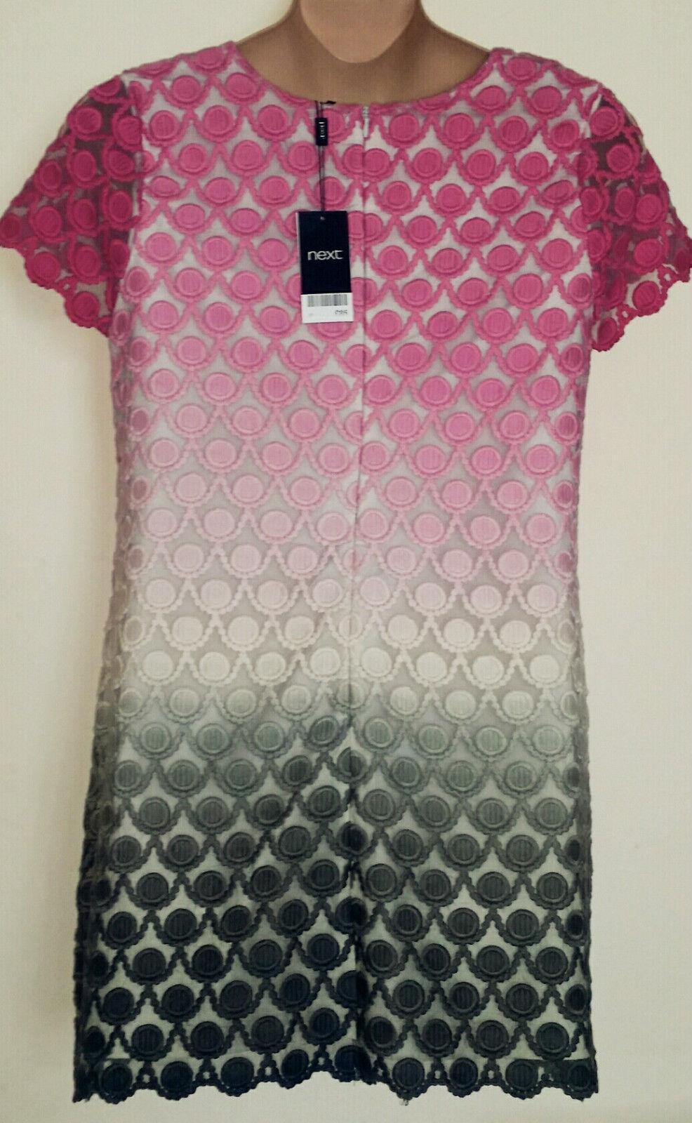 NEXT Ivory & rosa Foderato fine ORGANZA & & & Dip Dye ricama Shift Dress Fit 14   388ff0