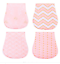 miniature 1 - 4-Pack-Girls-Large-Soft-Double-Layer-Cotton-Burp-Cloths-with-FREE-Teether
