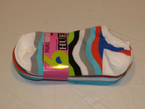 6 pairs HUE cotton liner socks One Size multi colors 448 Wave womens A-12-SY *^